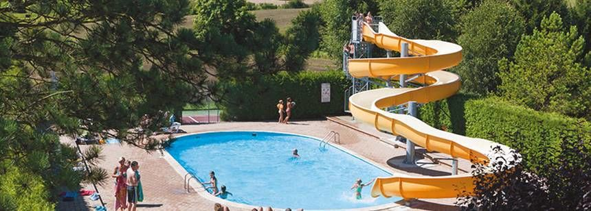 Swimming Pool and Water Slides at the Beauregard Campsite, France