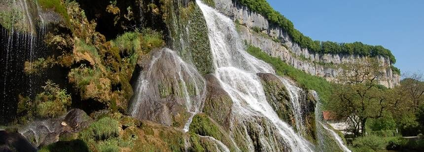The waterfall at Baume-les-Messieurs, about an hour's drive from Camping La Plage Blanche, Ounans, Jura, France.