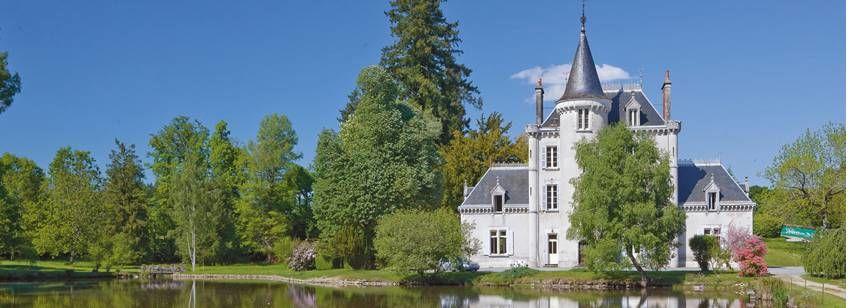 Château Overlooking the River at Château De Poinsouze Campsite, France