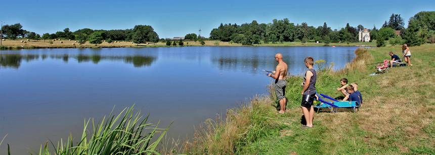 Fishing on the lake at Camping Chateau de Poinsouze, Limousin
