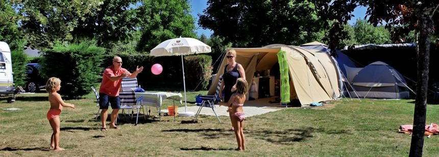 Scenic Views of the River and Grass Pitches at Château De Poinsouze Campsite, France