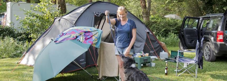 Camping With Their Dog at the Moulin De Campech Campsite, France