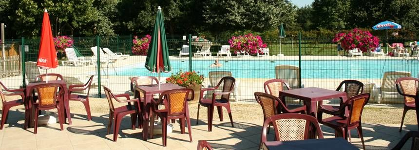 Restaurant and Swimming Pool at the Vallée Des Vignes Campsite, France