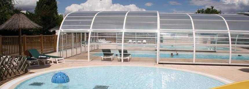 Swimming Pool and Water Slides at the La Mignardière Campsite, France