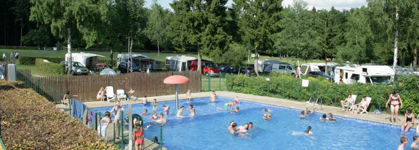 Swimming pool at Camping Auf Kengert, Larochette, Luxembourg