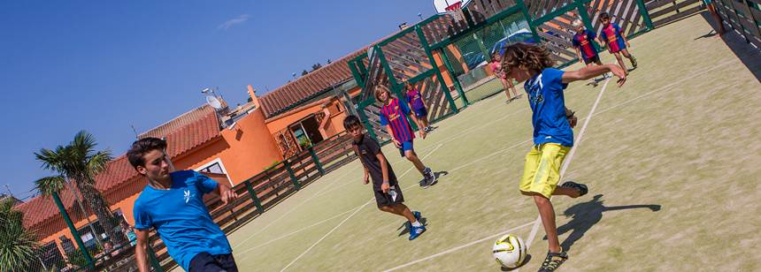Multisport court, Camping Ma Prairie, Canet Plage, Roussillon, France
