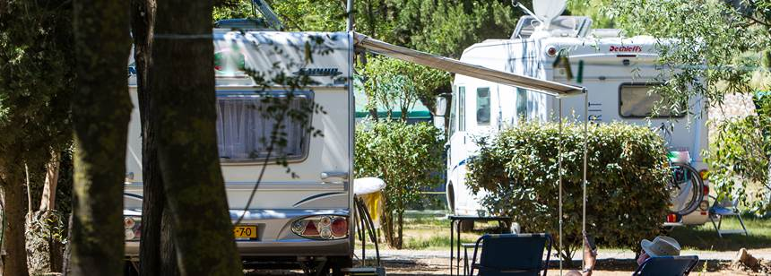 Typical motorhome pitches, Camping Ma Prairie, Canet Plage, Roussillon, France