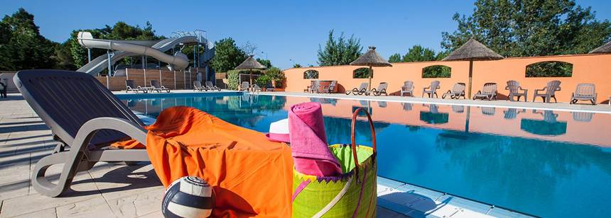 The pool area, Camping Ma Prairie, Canet Plage, Roussillon, France