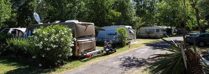Typical pitches, Camping Ma Prairie, Canet Plage, Roussillon, France