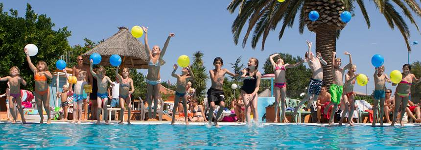Fun in the pool, Camping Ma Prairie, Canet Plage, Roussillon, France