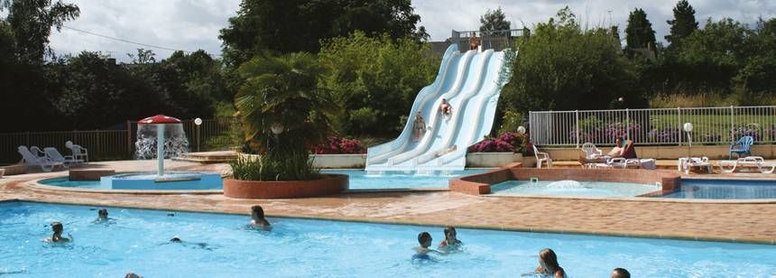 Swimming Pool and Water Slides at the Le Vieux Chêne Campsite, France