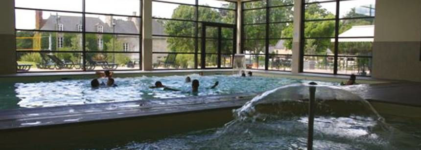Indoor Swimming Pool at the Château De Galinée Campsite, France