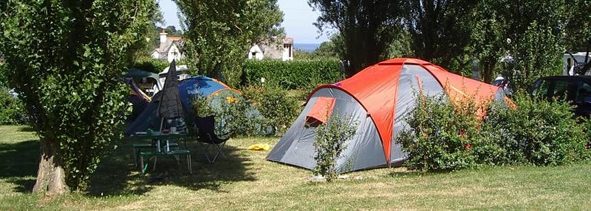 Tent On A Secluded Grass Pitche at the Abri Côtier Campsite, France