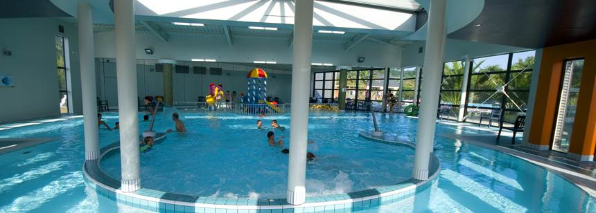 Indoor pool, Camping Village les Mouettes, Carentec, North Brittany, France
