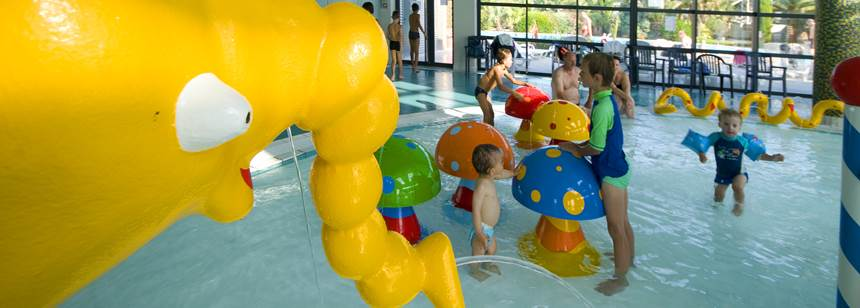 Indoor pool games, Camping Village les Mouettes, Carentec, North Brittany, France