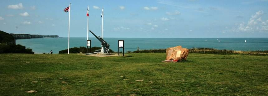 Normandy beaches war memorial near Camping Les Mouettes, Normandy, France