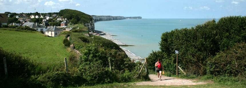 Coastal path to the beach at Camping Les Mouettes, Normandy, France