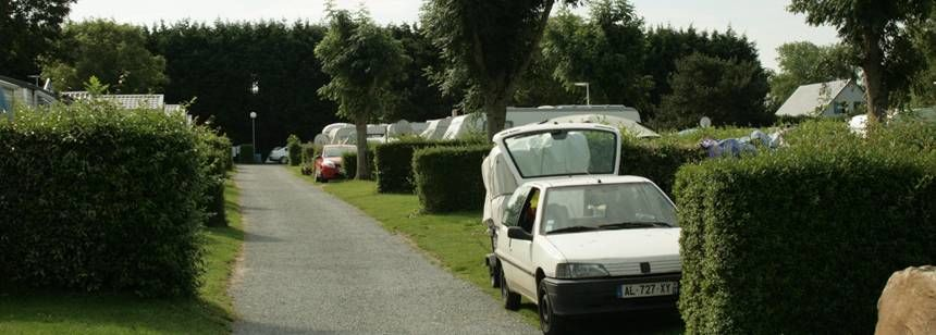 Grass pitches at Camping Les Mouettes, Normandy, France