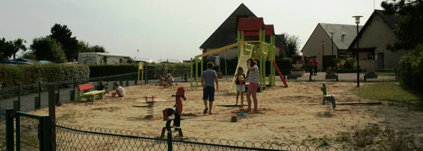 Children's play area at Camping Les Mouettes, Normandy, France