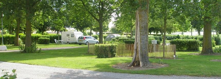 Shaded Grass Pitches at the Saint-Michel Campsite, France