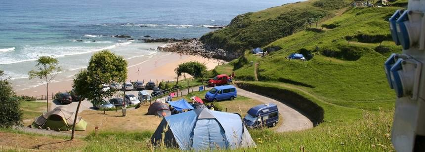 The terraced pitches with fantastic sea views at La Paz campsite, Vidiago, Spain