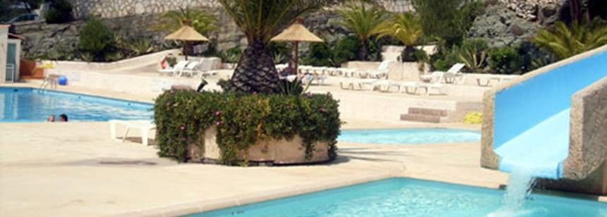 Swimming Pool and Water Slides at the Pins Parasols Campsite, France