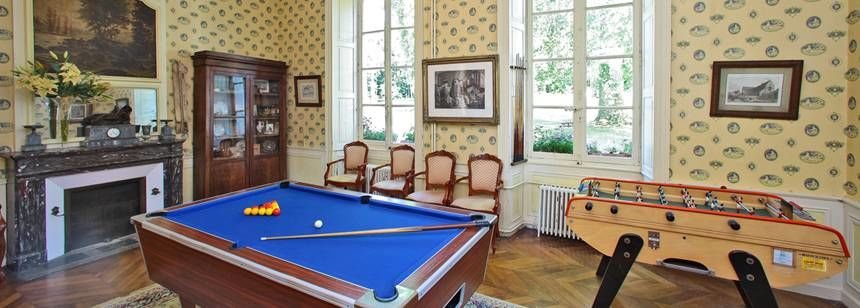 The billiard room at Château de Chanteloup, near Le Mans, France.