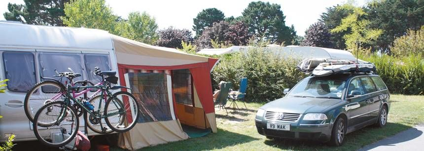 Grass Pitches at the Des Menhirs Campsite, France