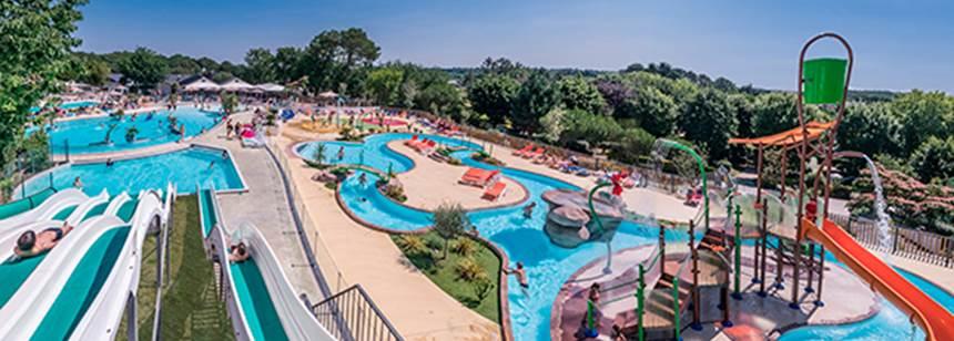 The pool complex , Mané Guernehué campsite, near Carnac, South Brittany, France