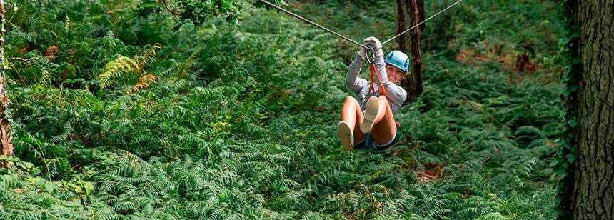 Treetop adventure park at Camping Mané Guernehué, Brittany, France