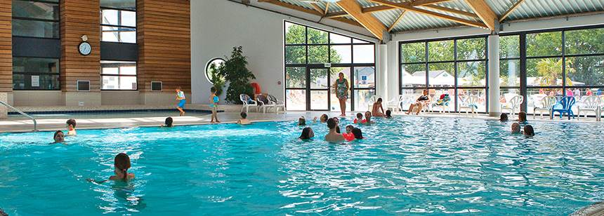The indoor pool , Mané Guernehué campsite, near Carnac, South Brittany, France