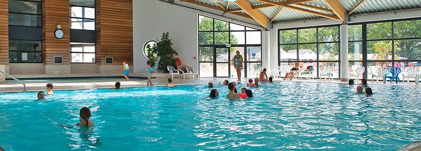 The indoor pool , Mané Guernehué campsite, near Carnac, South Brittany, France