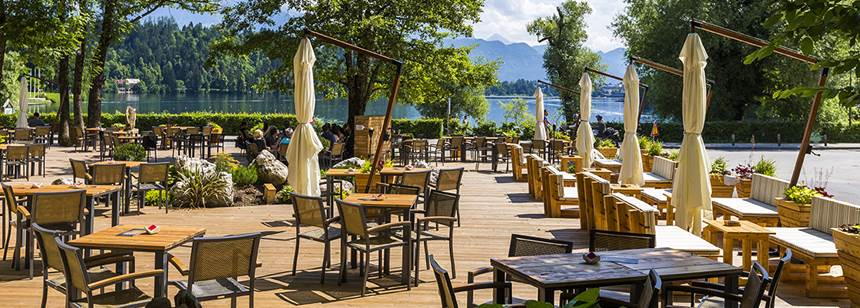 Camping Bled, Slovenia, Bar and terrace with lake view