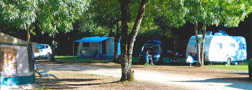 Typical pitches at Camping Le Valerick, St Sornin, France