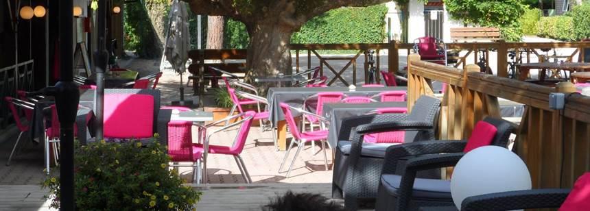 Restaurant terrace at Camping La Cigale, Arès, France