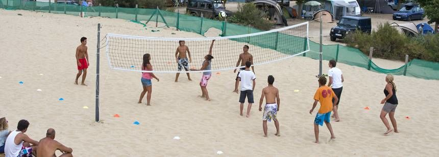 Playing Beach Volley Ball Beside the Airotel Saint Martin Campsite, France