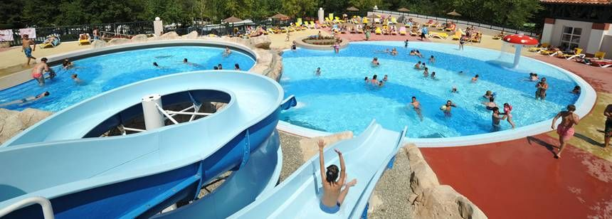 Swimming Pool and Water Slides at the Ilbarritz Campsite, France