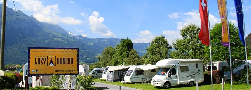 Pitches at camping Lazy Rancho, Interlaken, Switzerland
