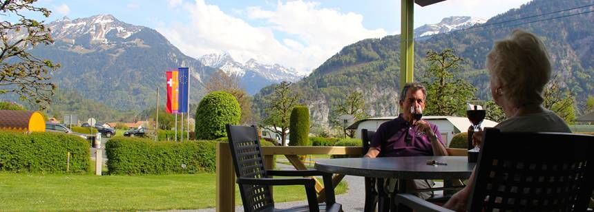 The lovely alpine setting at camping Lazy Rancho, Interlaken, Switzerland