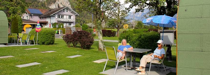 Relaxing at camping Lazy Rancho, Interlaken, Switzerland