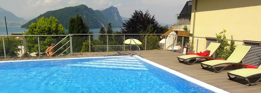 The swimming pool at Camping Vitznau, Vitznau, Switzerland