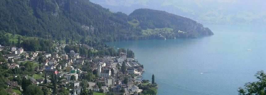 Scenic Views Over Lake Near Vitznau Campsite, Switzerl and