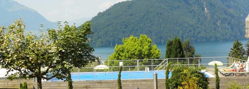 Pool with a view at Camping Vitznau, Vitznau, Switzerland