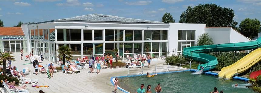 Swimming Pool and Water Slides at the Les Amiaux Campsite, France