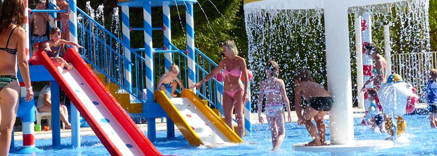 Splash area at Camping Les Amiaux, St. Jean-de-Monts, Vendée, France