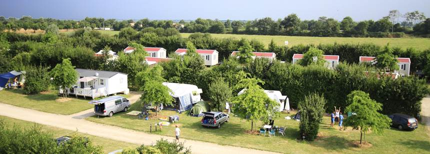 Typical pitches at Camping La Bretonnière, Vendée, France
