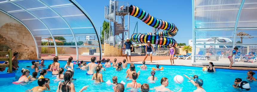 Pool activities at Camping Le Bahamas Beach, Vendée, France
