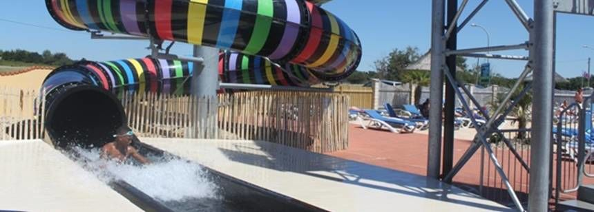 Water Slides and Activities at the Le Bahamas Beach Campsite, France