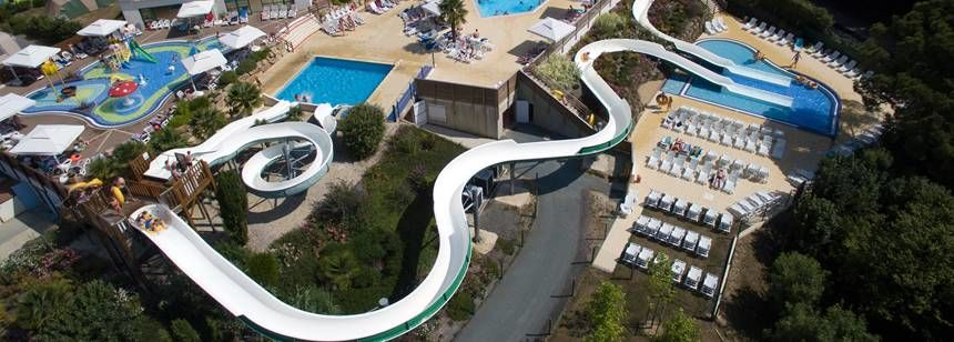 Swimming Pool and Water Sports at the Le Pin Parasol Campsite, France