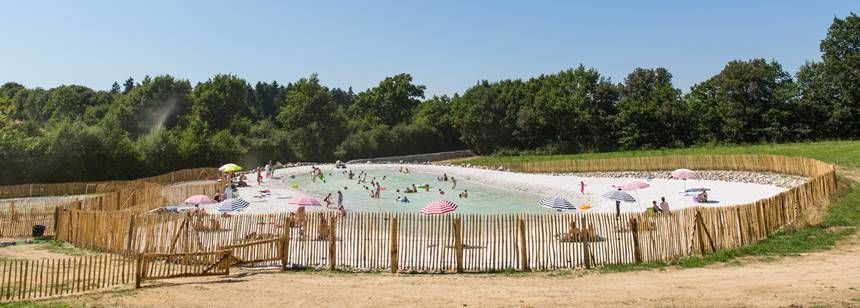Lagoon pool and beach, Camping La Garangeoire, Vendée, France
